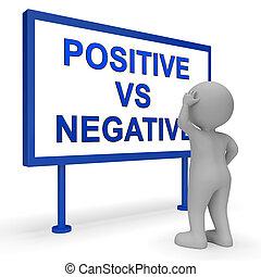 positivo, -, mente, negativo, ilustração, sinal, estado, vs, refletivo, descrevendo, 3d