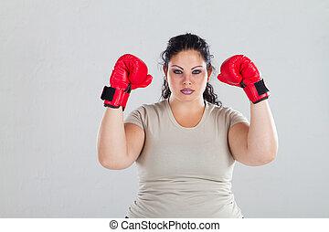 positivo, mulher, luvas, boxe, tamanho