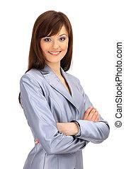 positivo, mulher negócio, sorrindo, sobre, fundo branco