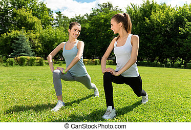 positivo, mulheres, fazendo, desporto, exercícios