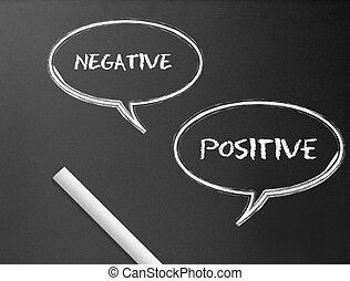 positivo, negativo, -, chalkboard