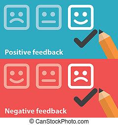positivo, negativo, reacción