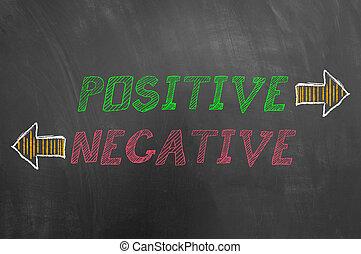 positivo, negativo, texto, com, setas, ligado, quadro-negro
