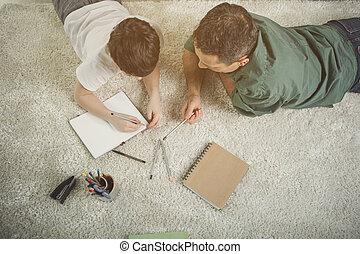 positivo, padre y niño, gasto, tiempo, juntos