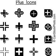 positivo, positivo, crucifixos, adicionar, ícone, jogo