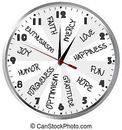 positivo, reloj, sentimientos