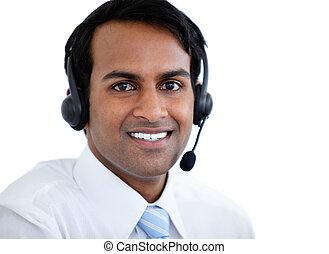 positivo, representante vendas, homem, com, um, headset