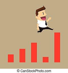 positivo, salto, salta, estatística, homem negócios, crise