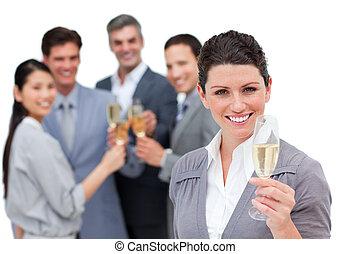 positivo, squadra affari, tostare, con, champagne