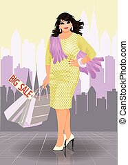 positivo, tamanho, moda, mulher, comprador