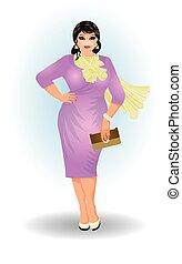 positivo, tamanho, moda, mulher negócio