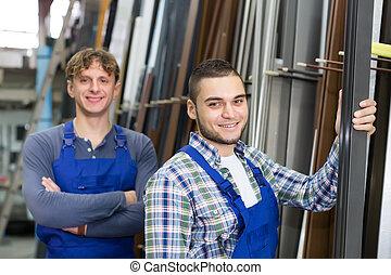 positivo, trabalhadores, trabalhando, com, janela, perfis