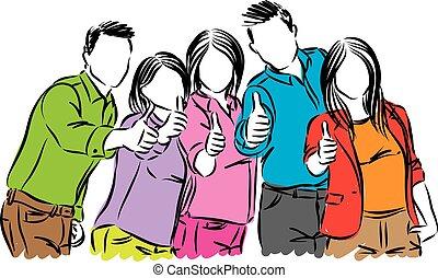 positivo, vettore, gruppo, illustrazione, persone