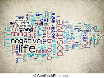 positivo, vida, palabra, nube