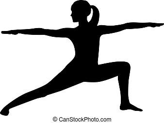 positur, kriger, silhuet, yoga