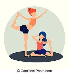 posizione, donne, yoga, esercizio, idoneità