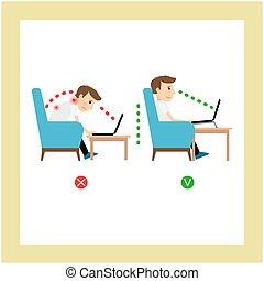 posizione, laptop, seduta, uso, corretto