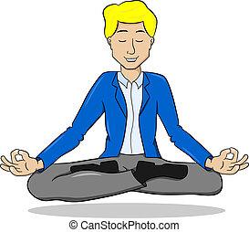 posizione loto, galleggiante, meditare, uomo affari