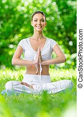 posizione loto, ragazza, gesturing, preghiera