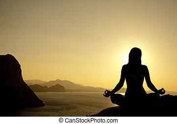 posizione loto, yoga, silhouette