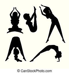posizione, set, esercizio, donne