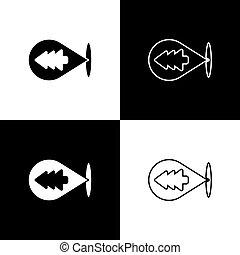 posizione, set, icona, vettore, foresta, isolato, bianco, nero, illustrazione, fondo., mappa