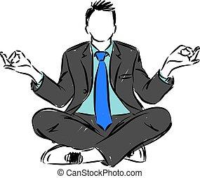 posizione, vettore, yoga, illustrazione, uomo affari