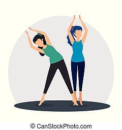 posizione, yoga, esercizio, donne