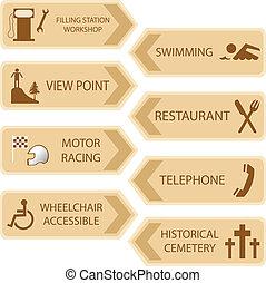 posizioni, turista, icona
