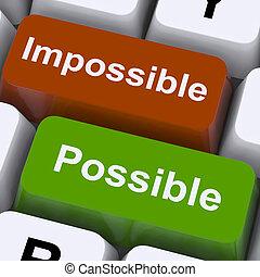 possível, e, impossível, teclas, mostrar, otimismo, e,...