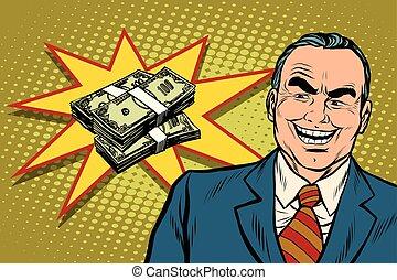 possedere, soldi, capo, risate, lotto, uomo affari