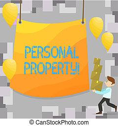 posses, negócio, pessoal, foto, mostrando, privado, escrita, nota, showcasing, indivíduo, pertences, ativos, property., owner.