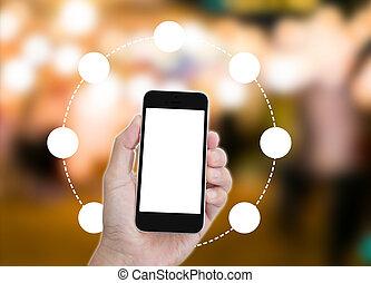 possession main, écran blanc, téléphone portable, à, cercle, et, barbouillage, résumé, fond
