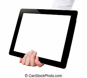 possession main, a, tablette, informatique, à, blanc, screen., femme, mains, projection, vide, écran, de, moderne, numérique, tablet., possession main, pc tablette, isolé, blanc, fond, à, vide, screen.