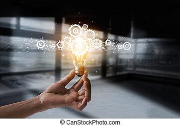 possession main, ampoule, et, dent, intérieur., idée, et, imagination., créatif, et, inspiration., innovation, engrenages, icône, à, réseau, connexion, sur, métal, texture, arrière-plan., innovateur, technologie, dans, science, et, industriel, concept