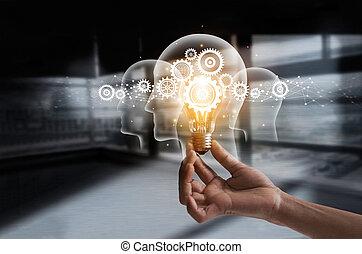 possession main, ampoule, et, dent, intérieur., idée, et, imagination., créatif, et, inspiration., innovation, engrenages, icône, à, réseau, connexion, sur, humain, têtes, sur, métal, texture, arrière-plan., innovateur, technologie, dans, science, et, industriel, concept