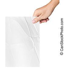 possession main, blanc, papier chiffonné, isolé, blanc, fond