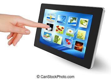 possession main, bloc effleurement, pc, à, icône