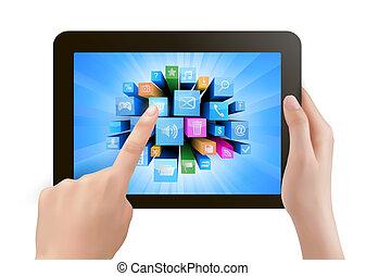 possession main, bloc effleurement, pc, et, doigt, toucher, c'est, écran, à, icons., vecteur