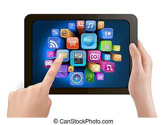 possession main, bloc effleurement, pc, et, doigt, toucher, c'est, écran, à, icons., vector.