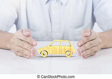 possession main, bois, voiture, insurance., concept, accident, prévention, coverage.