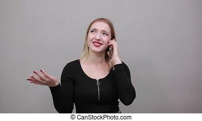 possession main, heureux, smartphone, téléphone, conversation, femme souriant
