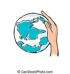 possession main, humain, dessin, globe, conception, bleu