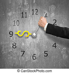 possession main, mains horloge, dans, usd, argent, forme,...