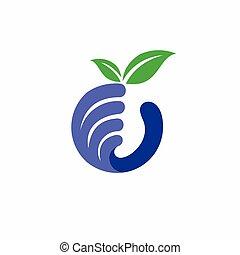 possession main, myrtille, fruit, logo