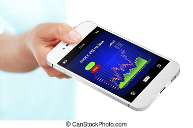 possession main, téléphone portable, à, bourse, diagramme, sur, blanc