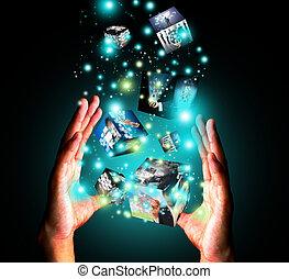 possession main, virtuel, boîte