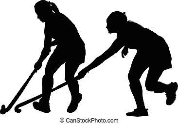 possesso, signore, palla, silhouette, combattendo, lettori, hockey, ragazza