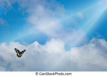 Possibilities - Rays of light shining down on clouds with a...