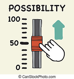 Possibility scale - Illustration of cartoon hand push the...